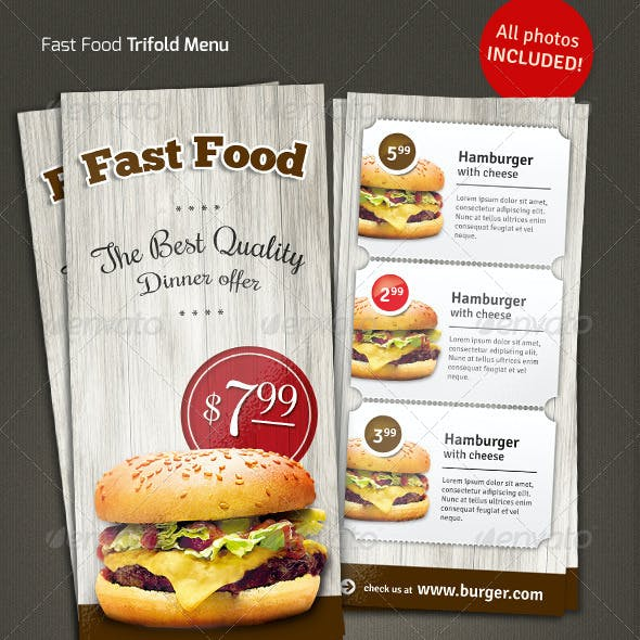 Trifold  Fast Food Menu Flyer