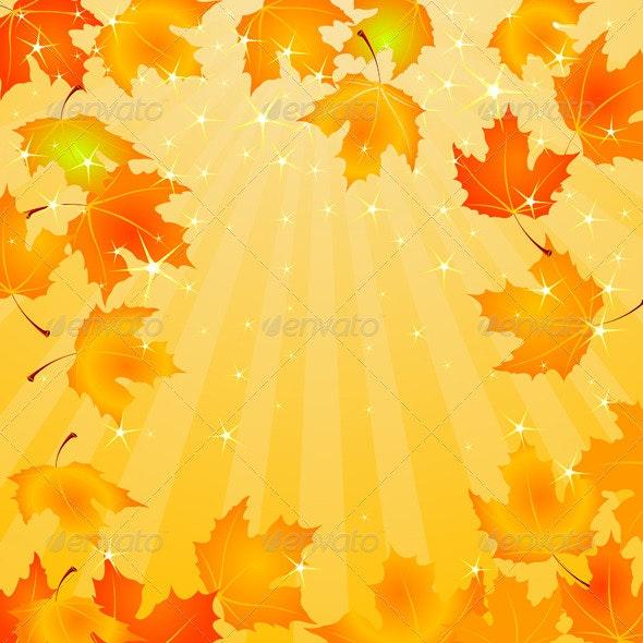 Falling Autumn Leaves background - Seasons/Holidays Conceptual