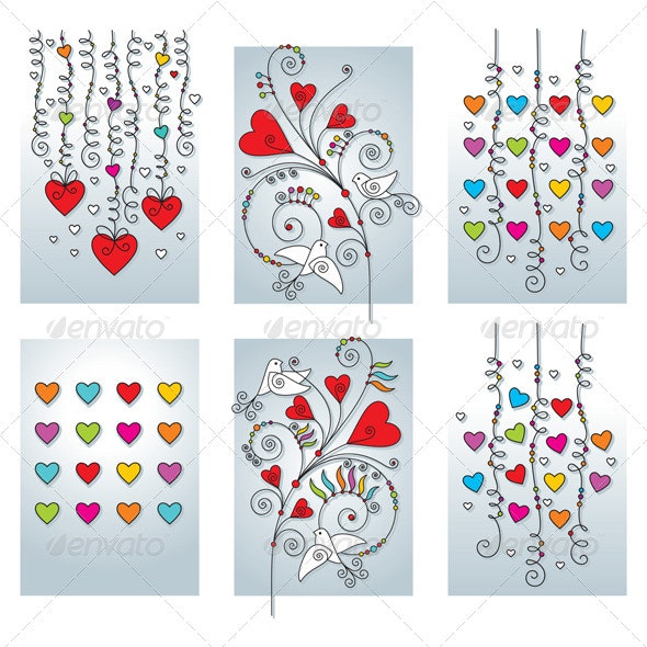 Set of Six Romantic Geeting Cards - Seasons/Holidays Conceptual