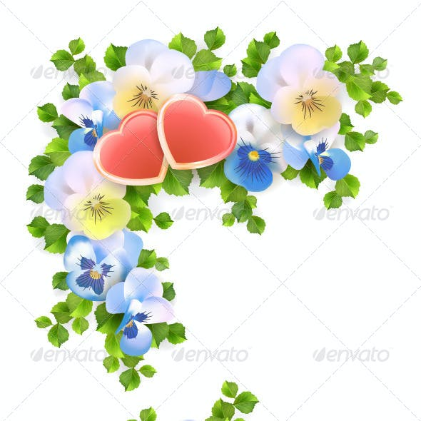 Flowers Bouquet Hearts on White Background