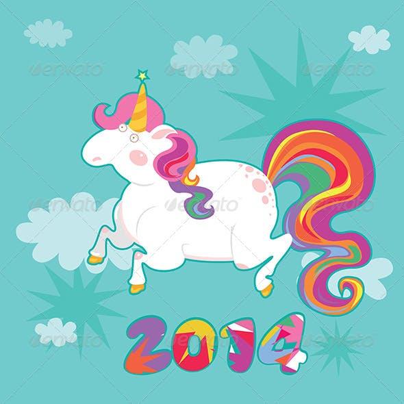 Unicorn  New Year Illustration