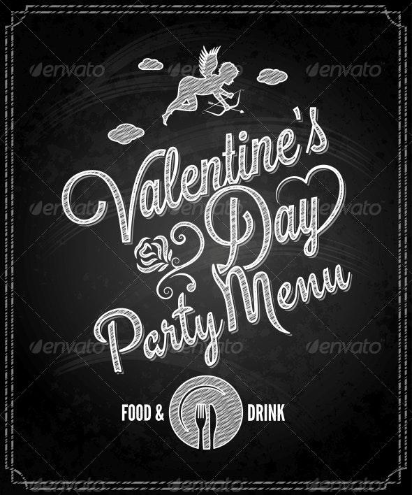 Valentine's Day Chalkboard Menu - Valentines Seasons/Holidays