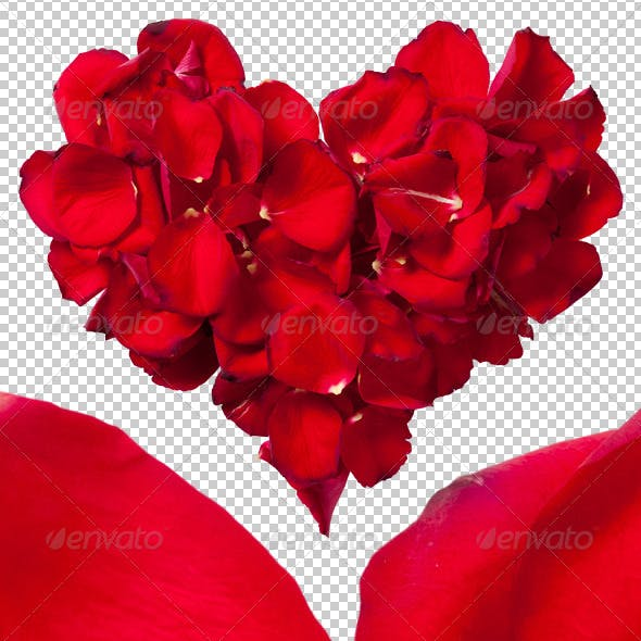 Red Rose Petals Heart Photo-realistic