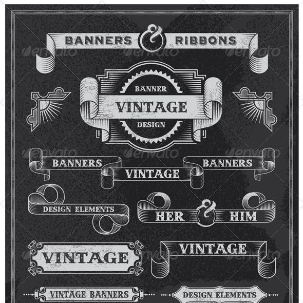 Retro Vintage Banners and Ribbons