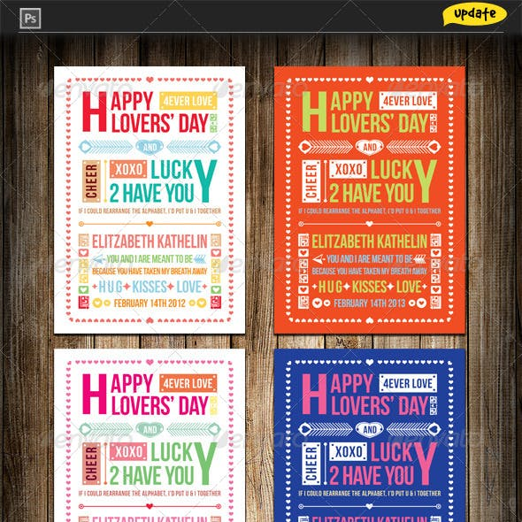 Valentine's Day Typography Greeting Card