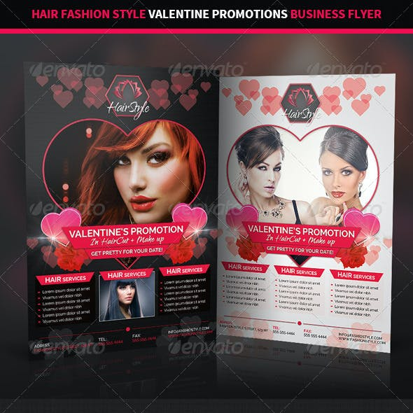 Hair Salon Valentine Promotions Business Flyer