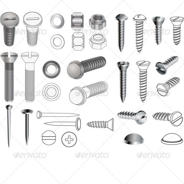 Complete Set of Bolts and Nuts