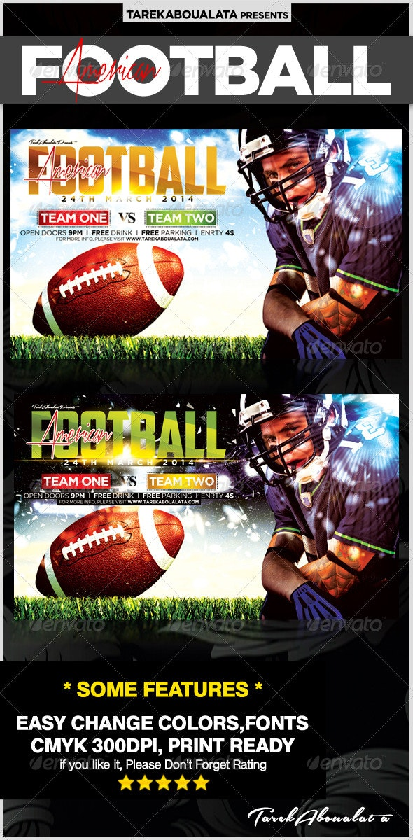 All American Football Flyer Template  - Sports Events