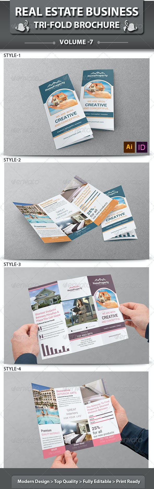 Real Estate Business Tri-fold Brochure | Volume 7 - Corporate Brochures