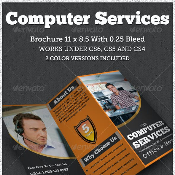Computer Service Trifold Brochure Indesign