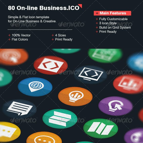 80 Online Business Icon Template
