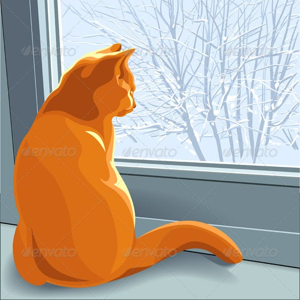 Winter dreams red cat