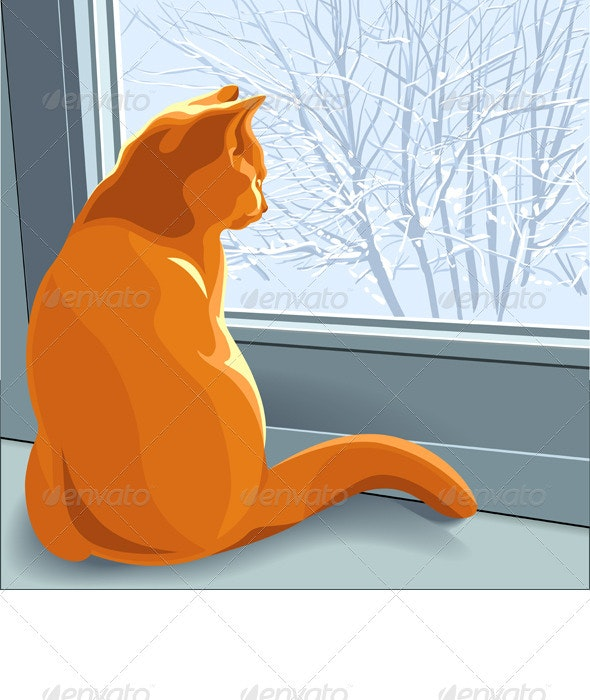 Winter dreams red cat - Animals Characters