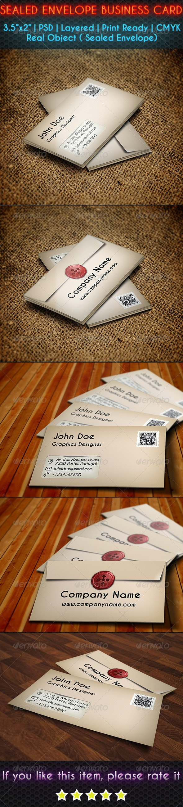 Sealed Envelope Business Card - Real Objects Business Cards