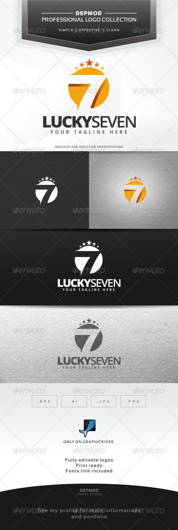 Lucky Seven Logo - Numbers Logo Templates