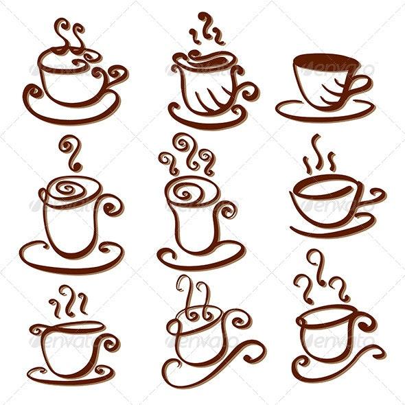 Set of Abstract Cup Illustrations - Decorative Symbols Decorative