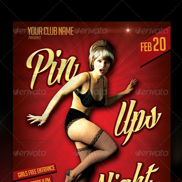 Pin Ups Night Flyer Template