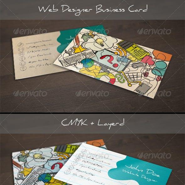 Handdrawn Web Designer Business Card