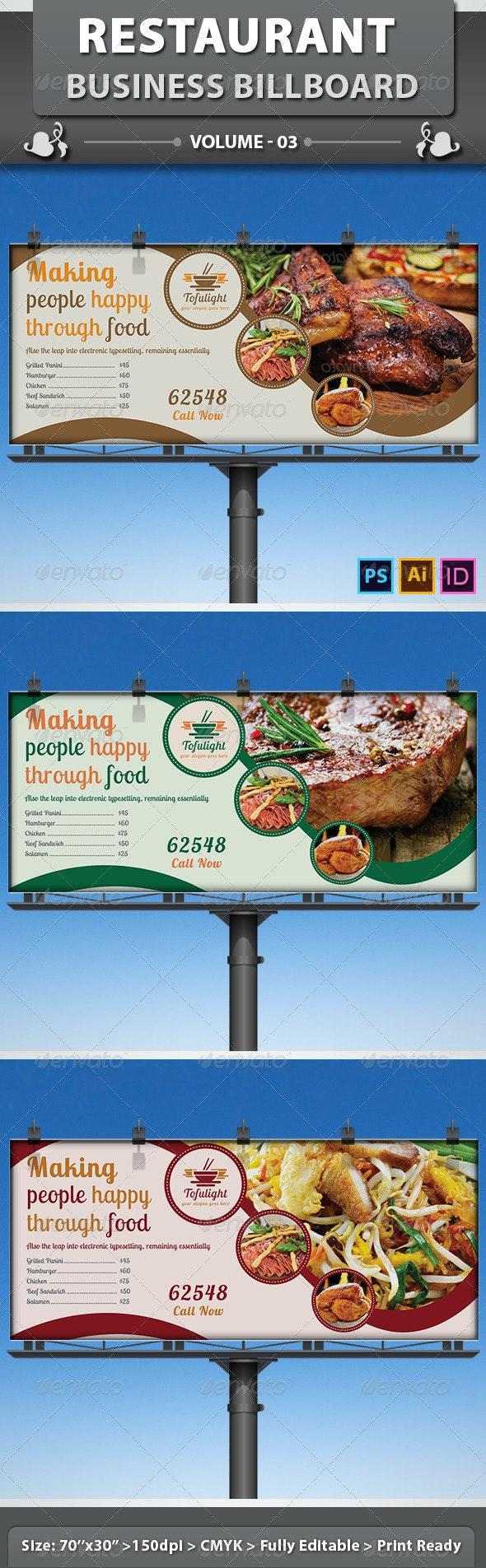 Restaurant Business Billboard   Volume 3 - Signage Print Templates