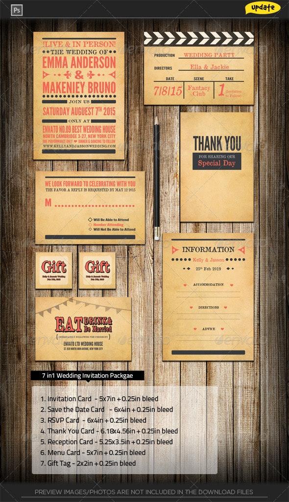 Vintage Movie Maker Wedding Invitation Package - Weddings Cards & Invites