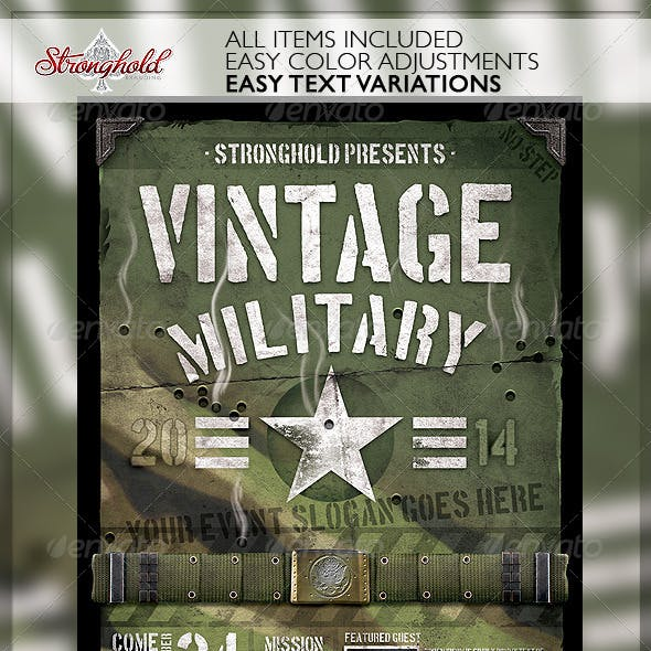 Vintage Military Armed Forces Flyer Template