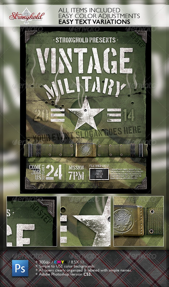 Vintage Military Armed Forces Flyer Template - Clubs & Parties Events
