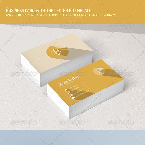Flat Business Card with Letter B