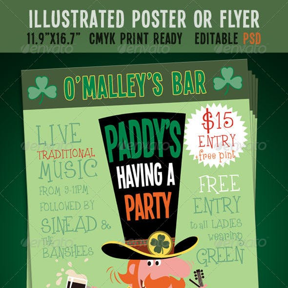 St. Patrick's Day Party Event Poster/Flyer