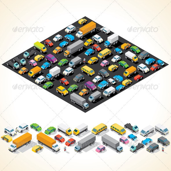 Isometric Car Parking with Automobiles - Man-made Objects Objects