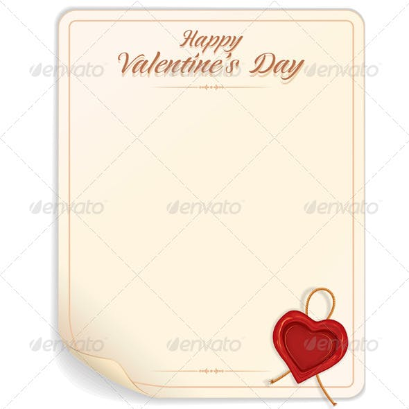 Valentine Day Love Letter Print Template