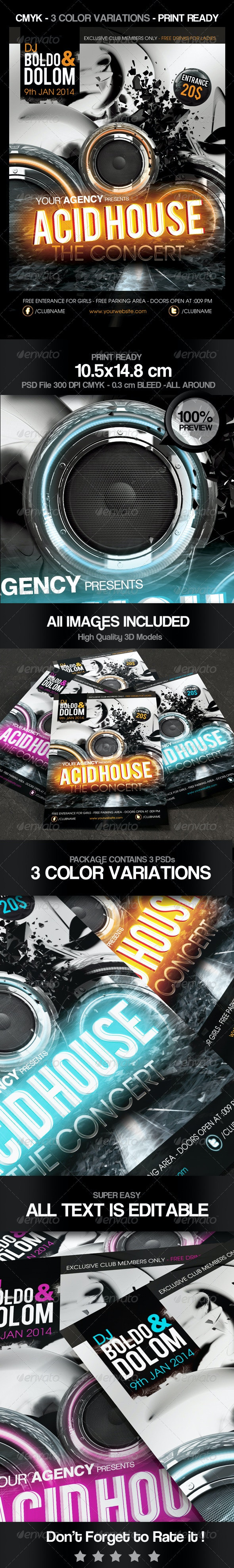 Acid House Party Flyer - Clubs & Parties Events