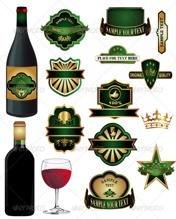 Wine Bottle with Vintage labels - Food Objects