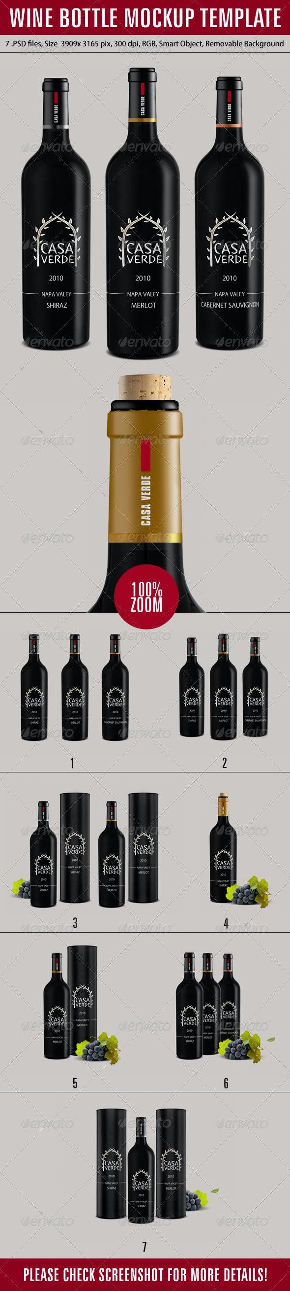 Wine Bottle Mockup Template - Product Mock-Ups Graphics
