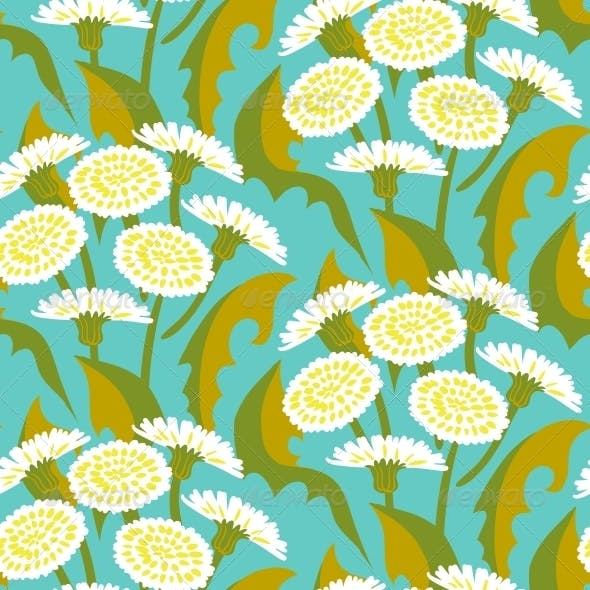 Seamless Floral Pattern with Dandelions