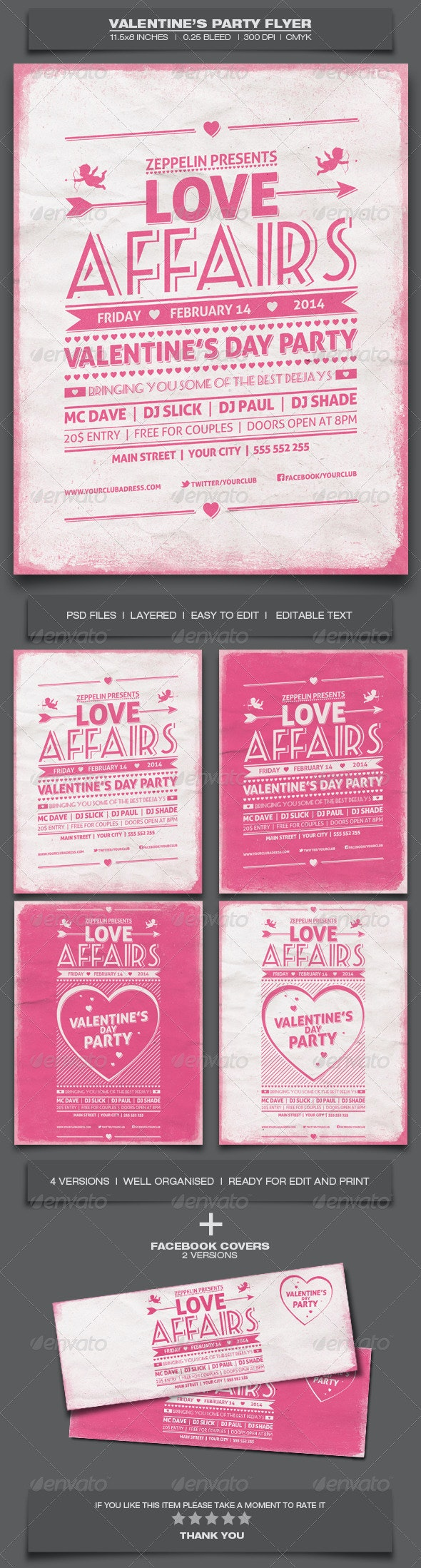 Valentine's Day Party - Event Flyer Template 7 - Holidays Events