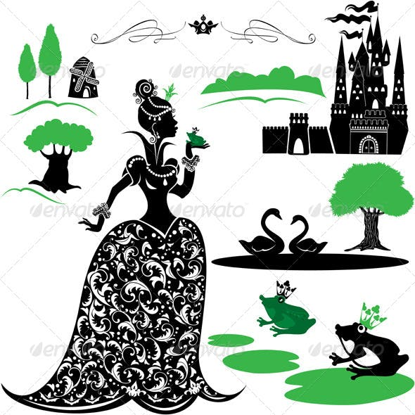 Fairytale Set - Silhouettes of Princess and Frog
