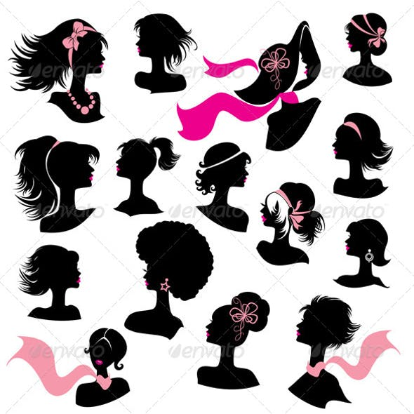 Set of Woman and Girl Silhouettes with Hair Stylings
