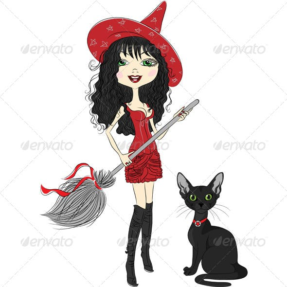 Girl Witch with a Broom and Black Cat