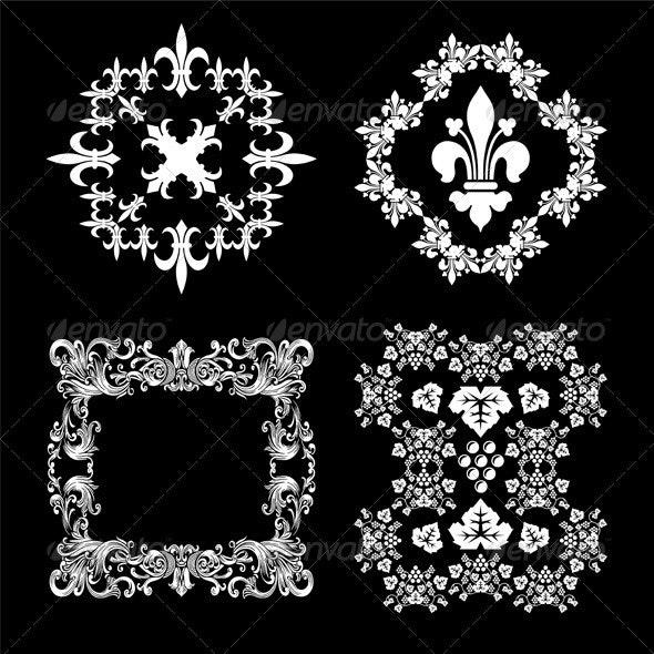 Vintage Decorative Floral Frames Set - Decorative Vectors