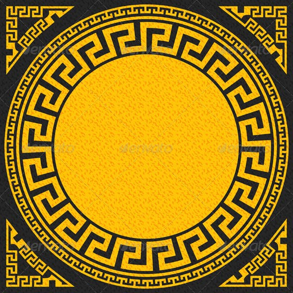 Gold and Black Greek Ornament