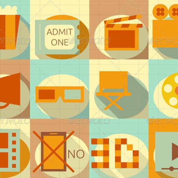 Flat Movie Icons Set