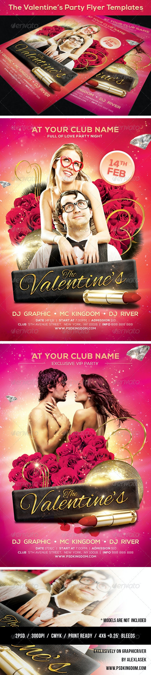 Valentine's Party Flyer Templates 4x6 - Clubs & Parties Events