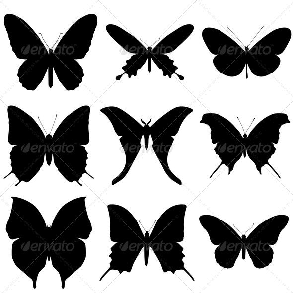 Butterfly Silhouette Set.  - Animals Characters