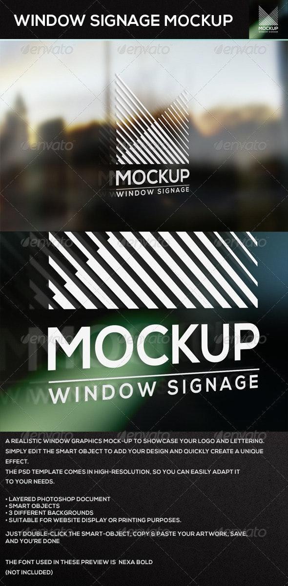 Window Signage MockUp - Product Mock-Ups Graphics