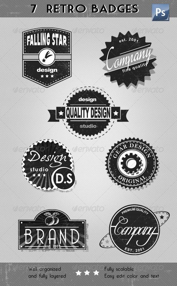 Retro Badges & Labels - Badges & Stickers Web Elements