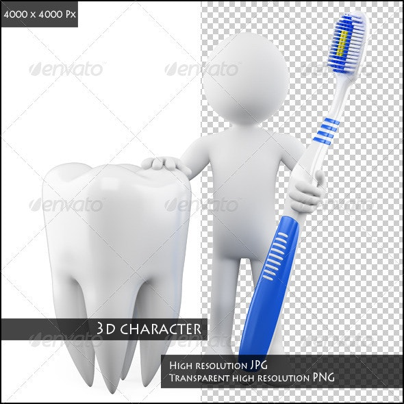 Dentist with a Tooth and Toothbrush - Characters 3D Renders