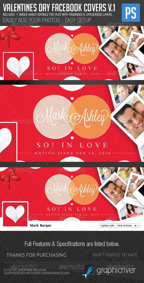 Valentines Day Facebook Cover Template - Facebook Timeline Covers Social Media