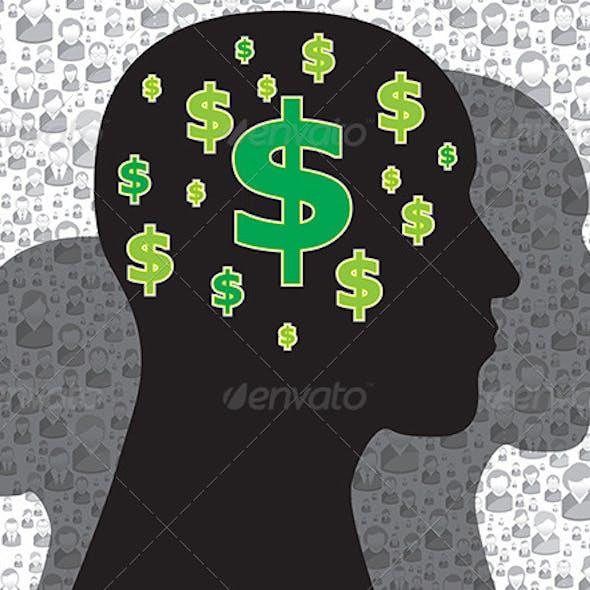 Human Head with Money Symbol