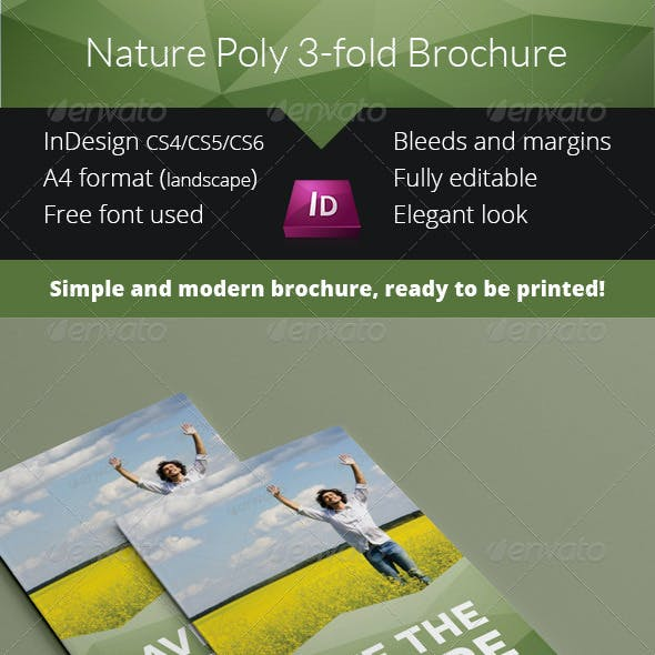 Nature Poly 3-fold Brochure InDesign Template
