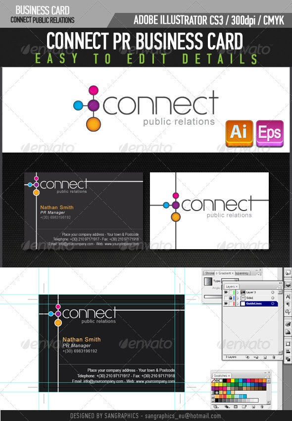 Connect PR Business Card - Corporate Business Cards